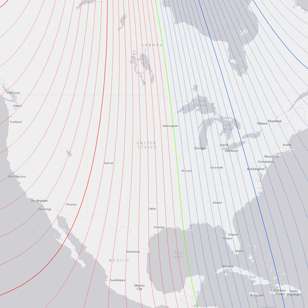 Isogonic map of the continental United States as of 2015. Red lines on the map indicate positive declination (east). Blue lines on the map indicate negative declination (west). The green line running through the Midwest is the agonic line, which has 0° declination. This is a screenshot taken from the NOAA Declination Map Viewer.